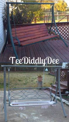 "Fabulous idea! Refurbish Old Patio Swing Chair Into New Wooden One! ""TeeDiddlyDee blog"""
