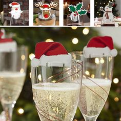 Christmas 10 pcs Table Place Cards Champagne Wine Glass Caps Christmas Holiday Party Decorations