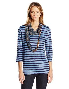 OneWorld Womens 34 Sleeve Top with Attached Scarf Montauk StripePrism Blue Medium >>> You can get more details by clicking on the image.