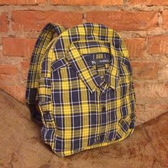 Fabulous Plaid Yellow and Black Shirt Backpack, Reused Shirt Backpack, Stylish Hipster Backpack #1255 by WhatTheFactory on Etsy