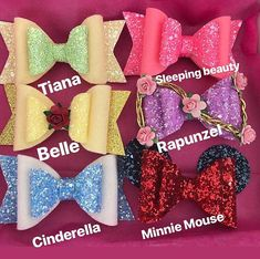 This is a unique and beautiful girl or baby set of Disney princesses inspired bow made of highest quality of glitter and felt fabric . Each bow measures approximately 9cm and is attached to an alligator hair clip . Can be Attached to the highest quality nylon headbands, to fit all sizes