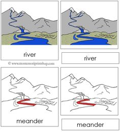 River Nomenclature Cards (Red) - 9 Parts of the River in 3-Part Cards, includes Black-Line Master.