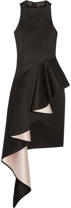 Milly Ruffled duchesse-satin dress