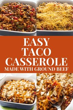 Easy to make Taco Casserole with ground beef and tortilla chips.  Bake in the oven for 30 minutes and serve for a simple weeknight meal. Easy Meat Recipes, Delicious Dinner Recipes, Meaty Lasagna, Easy Casserole Dishes, Slow Cooker Ribs, Best Casseroles, Ground Beef Casserole, Tortilla Chips, How To Cook Pasta