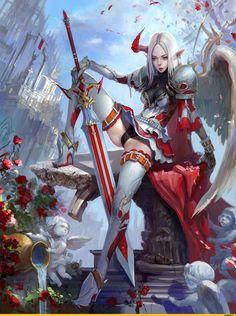 ANGEL - by Takyaskazal (Anton Astratenko) - Concept artist , artist, freelancer - Kiev, Ukraine Fantasy Girl, Fantasy Anime, Fantasy Female Warrior, Angel Warrior, Fantasy Kunst, Dark Fantasy Art, Fantasy Women, Fantasy Artwork, Woman Warrior