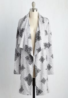 <p>You only have the weekend to create and submit a short film - so you grab this grey cardigan and round up your creative crew! With a snuggly shawl collar and supremely soft knit, this black-embroidered layer drapes you in comfort for every frenzied hour of your cinematic adventure!</p>