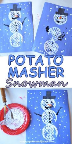 POTATO MASHER SNOWMAN – HAPPY TODDLER PLAYTIME It's chilly outside but inside is so delightful especially when you can do a fun and easy craft with your toddler or preschooler without much prep! Have fun making this potato smasher snowman this winter. Winter Activities For Kids, Christmas Crafts For Kids, Diy Crafts For Kids, Holiday Crafts, Art For Kids, Kids Diy, Christmas Crafts For Preschoolers, Fun Activities, Christmas Snowman