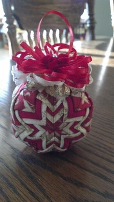Red and gold quilted Christmas ornament