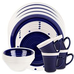 Add artistic flair to your everyday dining experience with the beautiful Sango Rico 16-Piece Dinnerware Set. Crafted of durable stoneware, this contemporary set includes service for 4 and features a modern, 2-tone circular design for a hand painted feel.