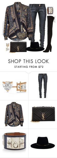 """Untitled #1632"" by dnicoleg ❤ liked on Polyvore featuring Allurez, Balmain, River Island, Yves Saint Laurent, Hermès, Zimmermann and Stuart Weitzman"