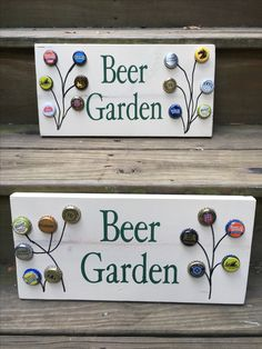 Pallet sign beer caps art paint the caps instead an write familys name ..garden or something instead of beer
