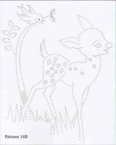 Bambi. Deer. Sweet. Card embroidery. Card piercing. Embroidery pattern. Design. Motifs. Retro. Geometric. Vintage.