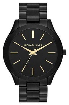 Michael Kors Women's Slim Runway Black-Tone Stainless Steel Bracelet Watch 42mm…