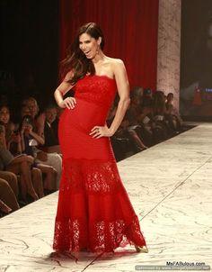 Roselyn Sanchez in red lace Tadashi Shoji