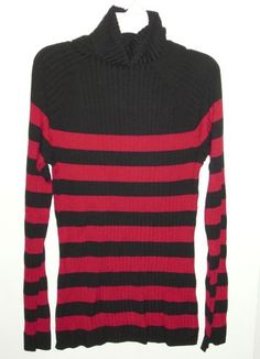 INC International Concepts NEW Turtleneck Sweater Ribbed Black Red SMALL D:1022