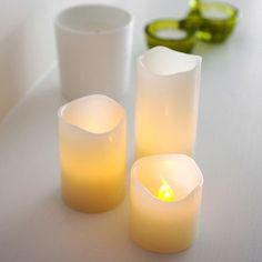 Set of 3 Battery Operated Vanilla Scented Melted Wax Flickering LED Candles for sale online Led Candle Lights, Battery Candles, Flameless Candles, Pillar Candles, Led A Pile, Bougie Led, Candles For Sale, Ambre, Candle Wax