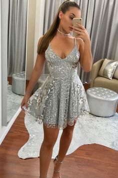 Sliver Spaghetti Straps Short Prom Dresses with Applique, Modest Fashion Homecoming Dresses, Grey Prom Dress, Hoco Dresses, Sequin Dress, Sexy Dresses, Cute Dresses, Evening Dresses, Short Silver Dress, Sparkly Homecoming Dresses, Fancy Dress Short