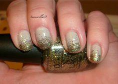 """Nail Idea for this period. Glitter gradient manicure. Colors are """"Skull and Glossbones"""" and """"Glow Up Already"""", both by OPI."""