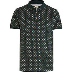 Dark green pattern print polo shirt - t-shirts / vests - sale - men