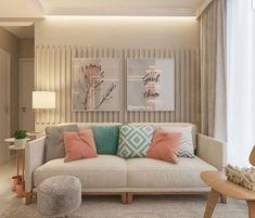 Amei as cores dessa sala de estar Accent Walls In Living Room, Home Living Room, Interior Design Living Room, Living Room Designs, Living Room Decor, Bedroom Decor, Diy Deco Rangement, House Design, Modern