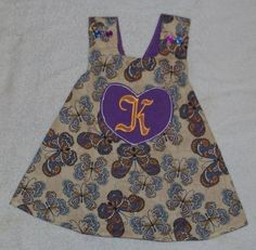 butterfly and purple cotton 912 mth initial dress by tessasplace, $17.00