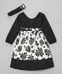 Take a look at this Black & White Flower Dress & Headband - Infant & Toddler by Donita on #zulily today!