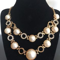 SALEStatement Necklace NWOT Double rows of faux pearls and rings of gold and rhinestones make this design a classic look. Jewelry Necklaces