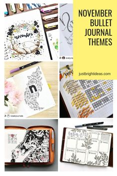 FABULOUS November Bullet Journal Themes {Cover pages and plan with me videos to inspire you! Bullet Journal Essentials, How To Bullet Journal, Bullet Journal Headers, Bullet Journal Monthly Spread, Bullet Journal Printables, Bullet Journal Themes, Bullet Journal Layout, Bullet Journal Inspiration, Bullet Journals