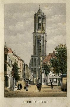 De Zadelstraat te Utrecht met op de achtergrond de Domtoren 1870 High Middle Ages, Dutch Golden Age, Vintage Architecture, Old Paintings, Utrecht, Old Pictures, Europe, Textured Background, Netherlands