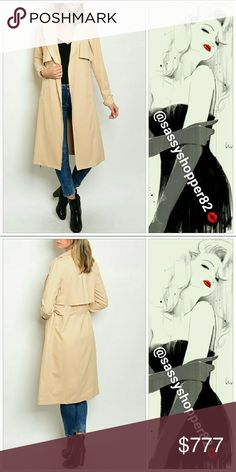 "Chic and timeless Trench coat Brand new with tags Boutique item  PRICE IS FIRM   Timeless and classy open front trench coat. Wear open or belt at the waist. Wear over any outfit for a chic look. Wear over a dress with heels or as seen in photo in jeans and a top. Timeless and classy a must have!   100%polyester-belt included- belts/button detail on sleeves-pockets   Small length 42"" Medium length 42"" Large length 44"" Model is a small wearing a small   Jackets & Coats Trench Coats"