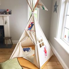 Nursery Teepee with jungle animals theme. You choose the animals and we'll make the teepee for you. Customise the size and look of your teeppee.
