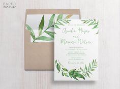 Wedding Invitation  Wedding Invitation Suite Leafy  Garden