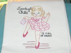 7 VINTAGE CHILD OF THE WEEK-new hand embroidered flour sack dish towels/ ebay $52.50