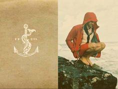 anchor. New England, red jacket, cloudy, weather, seaside, granite, man, sea, ocean, grey, rain