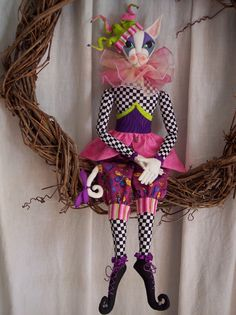 Mirabelle Jester Cat E-Pattern by Paula McGee, Cloth Doll Artist Art Doll Tutorial, Doll Making Tutorials, Doll Sewing Patterns, Halloween Doll, Cat Doll, Doll Maker, Fairy Art, Fairy Dolls, Digital Pattern
