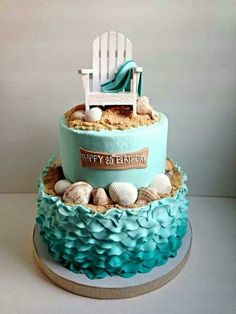 What I just love about beach themed and ocean themed cakes, cupcakes & biscuits, is that they can be so very versatile. Beach Themed Cakes, Beach Cakes, Cupcakes, Cupcake Cakes, Shoe Cakes, Beautiful Cakes, Amazing Cakes, Beautiful Beach, Surf Cake