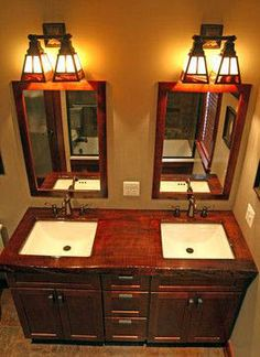Craftsman Bathroom Design, Pictures, Remodel, Decor and Ideas - page 5 (home crafts bathroom) Craftsman Style Bathrooms, Bungalow Bathroom, Craftsman Interior, Craftsman Mirrors, Craftsman Houses, Bathroom Light Fixtures, Bathroom Lighting, Vanity Lighting, Mission Style Homes