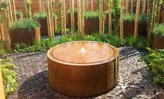 Table d'eau ronde en corten