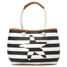 """Large nautical striped tote with rope double handles and magnetic snap top closure.  Inside features a coordinating striped pouch and an inside zip pocket.  Measures approx 18"""" L x 11 1/2"""" W x 5"""" D.  Handle drop of 10""""."""