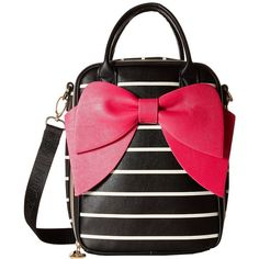 Betsey Johnson Bow Lunch Tote (Black/Stripe) Tote Handbags (£36) ❤ liked on Polyvore featuring bags, handbags, tote bags, striped handbag, striped tote bag, stripe tote, striped purse and bow purse