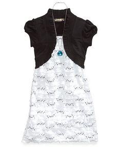 Speechless Girls Necklace & Shrug Dress Set