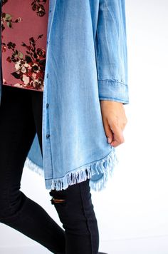 Denim Button Up Tunic | ROOLEE