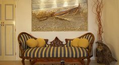 Antique furnishing and artistic details, such as original paintings characterize most of Art Maisons suites! Santorini, Love Seat, Architecture Design, Swimming Pools, Original Paintings, Castle, Bedroom Decor, Luxury, Home