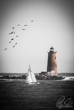 Whaleback Lighthouse from Great Island Common in Portsmouth, NH - Philip Alex Photography