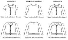 Jenna cardi – Muse Patterns: Jenna is a fitted, round neck, button-up cardigan with two length options (hip or waist length), three sleeve options (long, 3/4, or short), and optional shoulder yoke detailing.