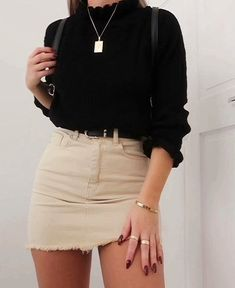 Schwarzer Pullover und Rock Outfit - Clothes - Moda World Denim Skirt Outfits, Rock Outfits, Cute Casual Outfits, Spring Outfits, Dress Outfits, Fashion Outfits, Denim Skirts, Casual Dresses, Fashion Trends