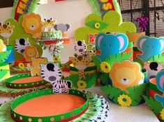Bags,Memories-All for your party / Todo para su fiesta. Cotillions Bags Memories Centerpiece Decoration Designs Card Paper Safari Candy I Safari Party, Jungle Theme Parties, Jungle Party, Party Themes, Party Animals, Animal Party, Jungle Animals, Baby Birthday, 1st Birthday Parties