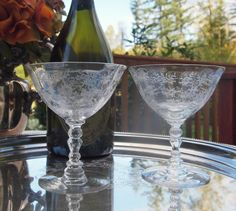 Fostoria Saucers Champagne Coupe Glasses Chintz Etched # 6026 Crystal Toasting Glasses Wedding Pair Set of 2 Champagne Coupe Glasses, Wedding Toasting Glasses, Vintage Gifts, Vintage Shops, Fostoria Crystal, Dessert Glasses, Crystal Champagne, Vintage Cookbooks, Flower Designs