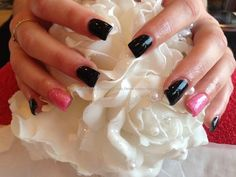 Full set of acrylic nails with black gelish gel polish ,pink glitter crystal gel polish on ring fingers