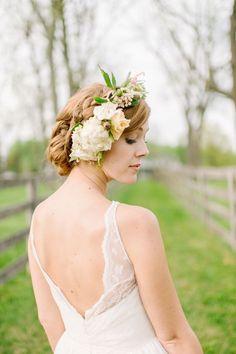 Floral headpiece. Ruffled – photo by http://landmhewitt.com/ – Ruffled #wedding #bride #bridal #romantic #event  #celebration #love #white #beautiful #feminine #magic #silk #lace#Dress#gown#weddinggown #princess